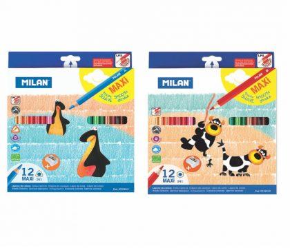 Creioane colorate maxi milan 12 culori triunghiular