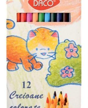 Creioane color 12 culori Daco hexagonal