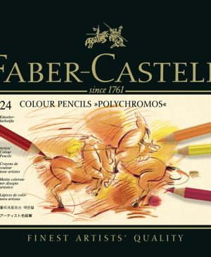 creioane colorate polychromos 24 culori cutie metal faber castell