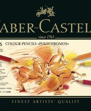 creioane colorate polychromos 36 culori cutie metal faber castell