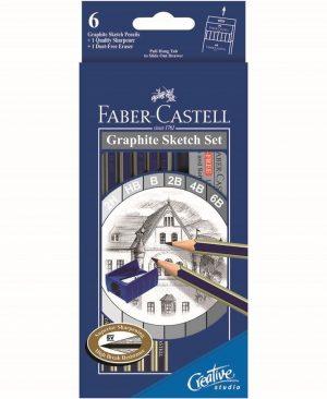 set 6 creioane grafit goldfaber cu radiera ascutitoare faber castell