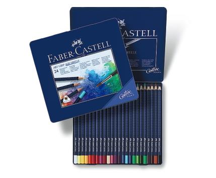 creioane colorate aquarelle art grip 24 culori faber castell