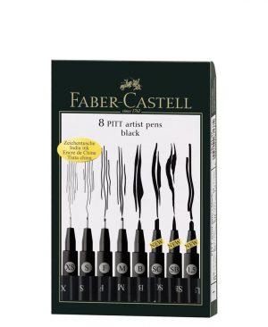 Pitt artist pen Faber Castell negru set 8