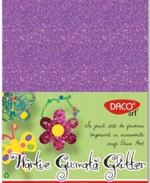 Hartie gumata glitter 20x30cm 10 culori Daco