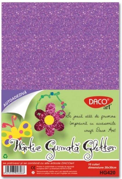 Hartie gumata adeziva glitter 20x30cm 10 culori Daco