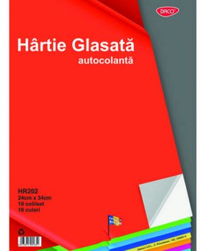 Hartie glasata autocolanta lucioasa 24x34cm 10 file Daco