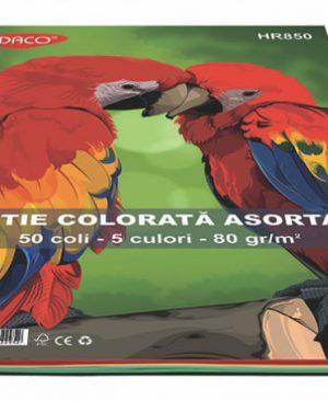Hartie colorata 80g A4 5 culori 50 coli Daco