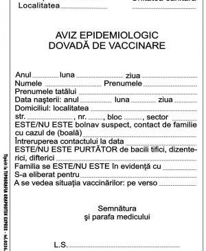 aviz epidemiologic dovada de vaccinare