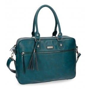 geanta cu compartiment laptop 38cm pepe jeans croc verde