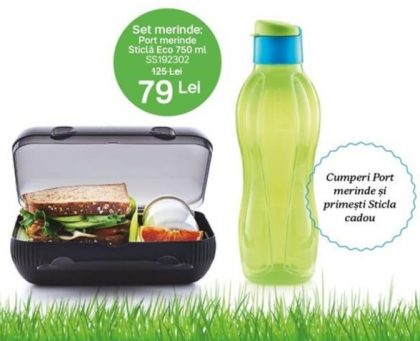 set tupperware sticla 750ml si port merinde