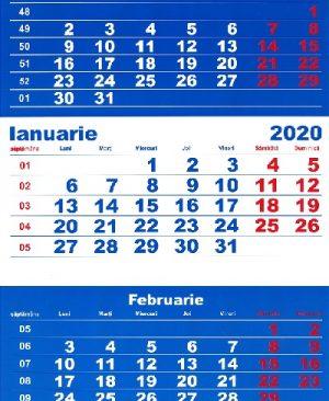 calendar triptic 2020 de perete